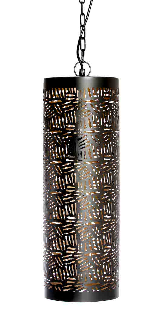 Casablanca Black Pendant Cylinder-Zebra Etching-Medium