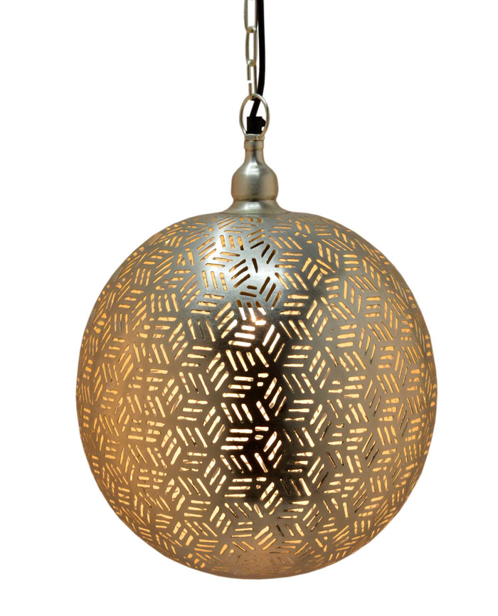Marrakech Silver - Ball Pendant-Hexa Etching