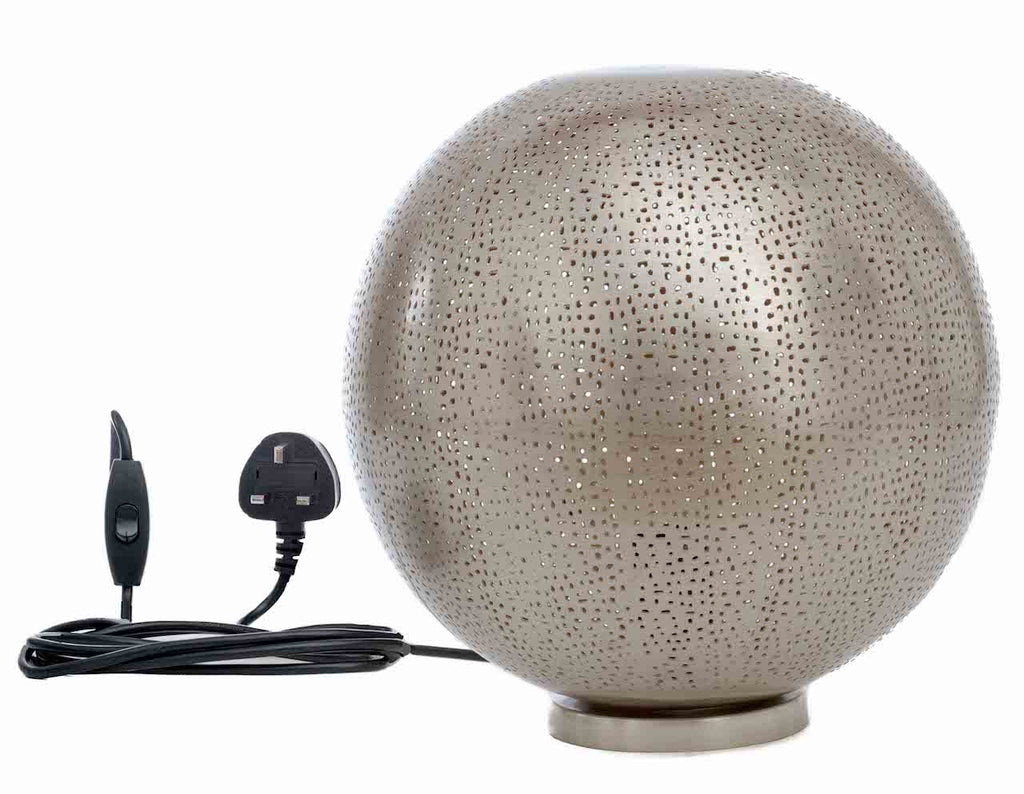 Fez Nickel Ball Table Lamp-Medium