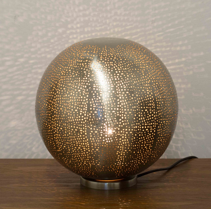 Fez Nickel Ball Table Lamp-Large