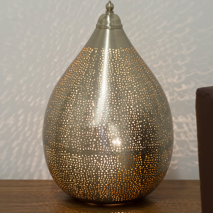 Fez Nickel Teardrop Table Lamp-Large