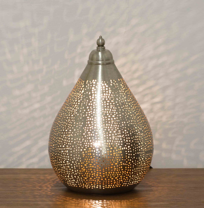 Fez Nickel Teardrop Table Lamp-Small