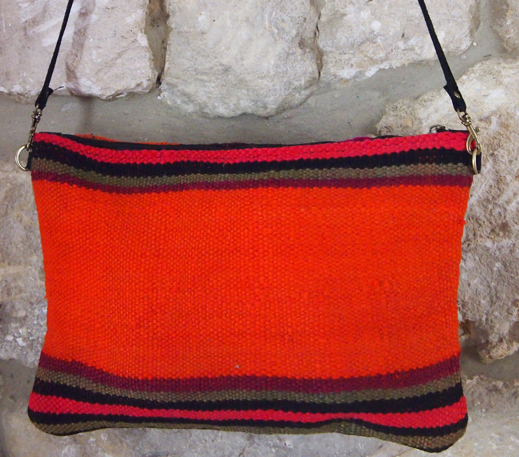 Berber shoulder pouch - pink/brown/orange