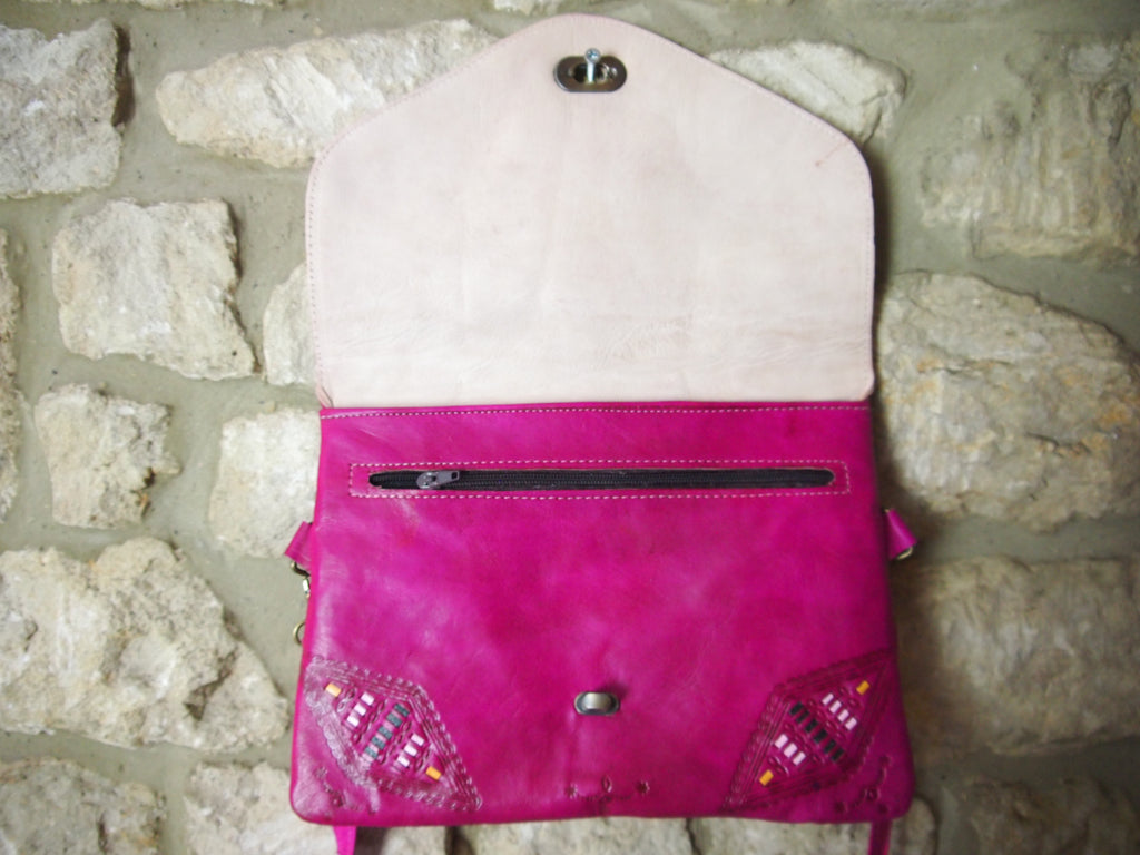 Embossed Moroccan Leather Bag-Pink