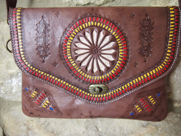 Embossed Moroccan Leather Bag-Brown