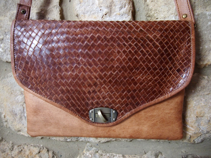 Plaited Moroccan Leather Bag-Brown