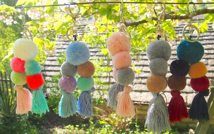 Pom Pom / Tassel Key ring /Bag Charm