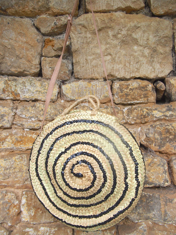 Moroccan Handmade Round Straw Basket With Black sequins