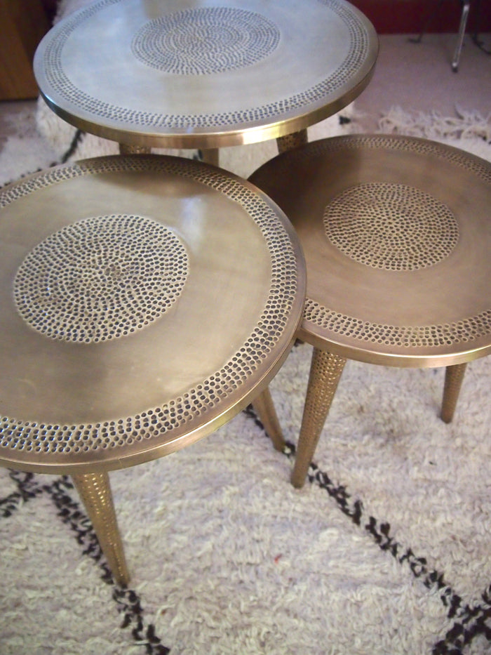 Moroccan Handmade Artisan Hammered Copper Table