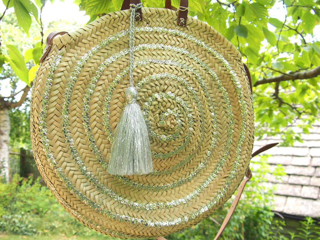 Moroccan Handmade Round Straw Basket With Silver sequins and tassel
