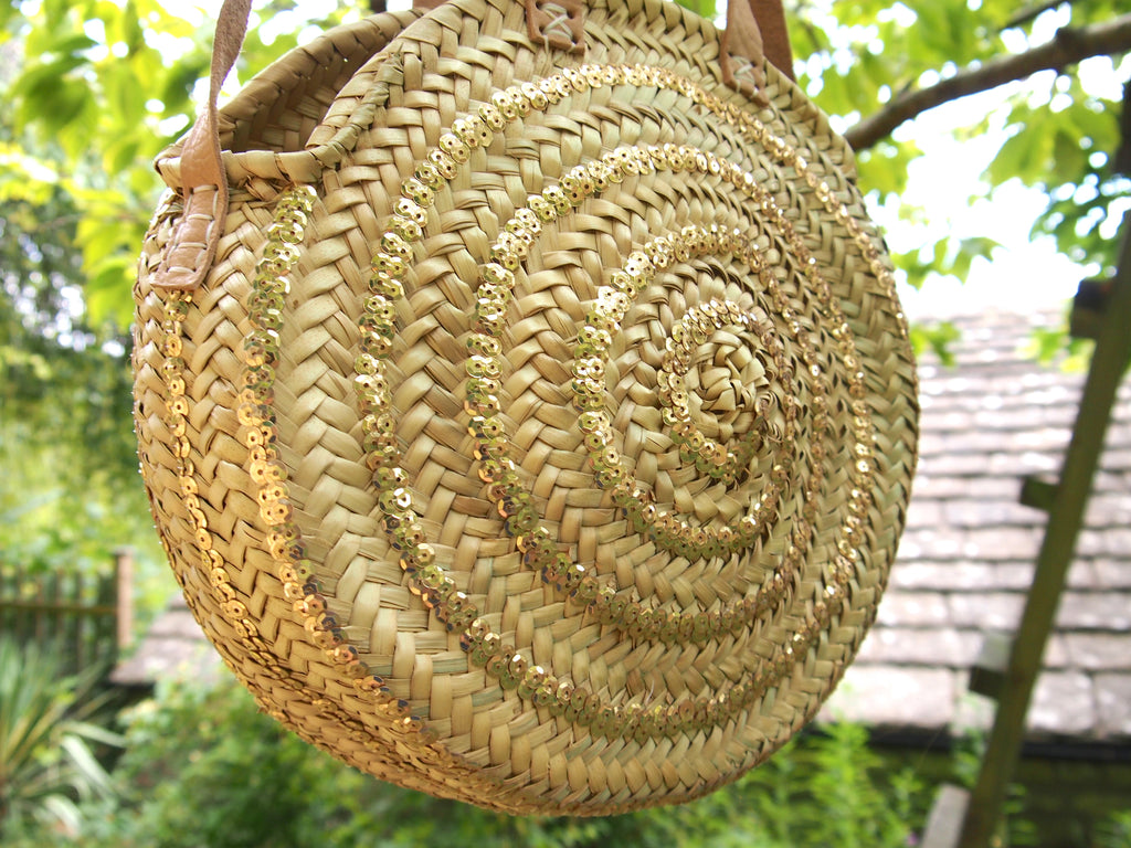 Moroccan Handmade Round Straw Basket With Gold sequins