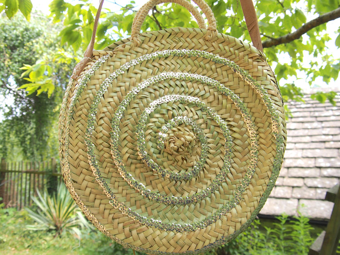 Moroccan Handmade Round Straw Basket With Silver sequins