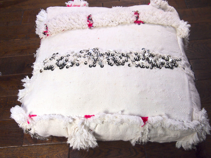 Vintage Moroccan Handira Floor Cushion-White