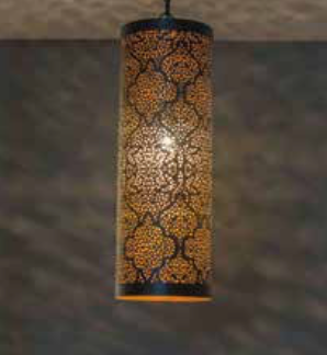 Casablanca Black Pendant Cylinder-Tikoni Etching-Medium