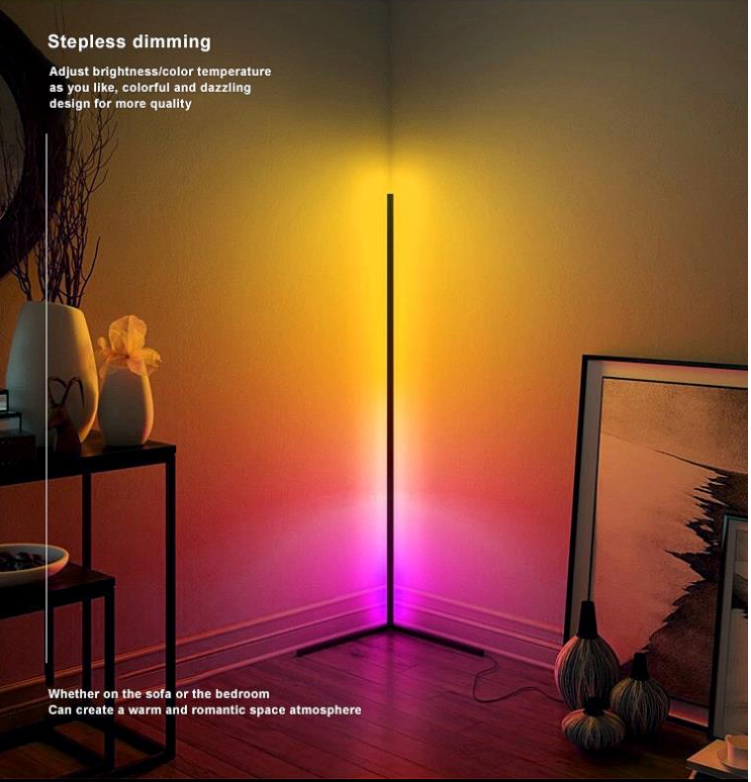 Contemporary Nordic Style Corner LED Floor Lamp-Colour Changing RGB
