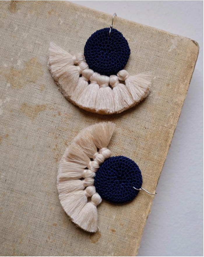 Crochet Disc Tassel Earring-Midnight Blue and Beige
