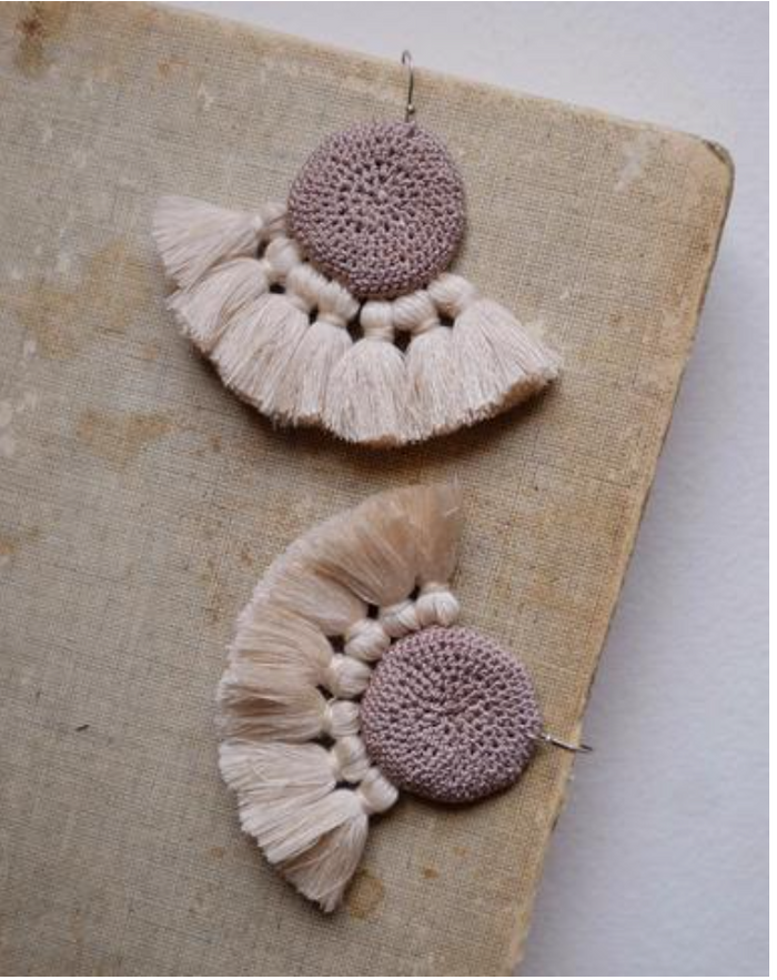 Crochet Disc Tassel Earring-Mink and Beige