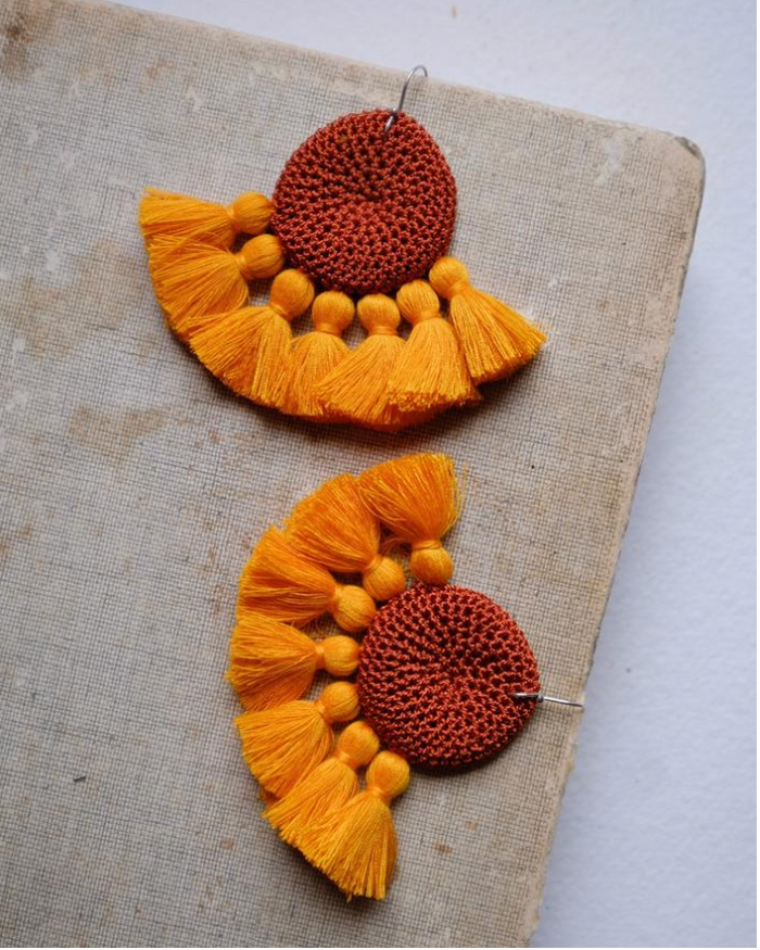 Crochet Disc Tassel Earring-Rust and Yolk