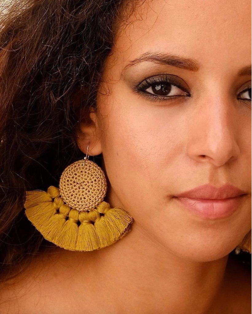 Crochet Disc Tassel Earring-Cumin and Cumin