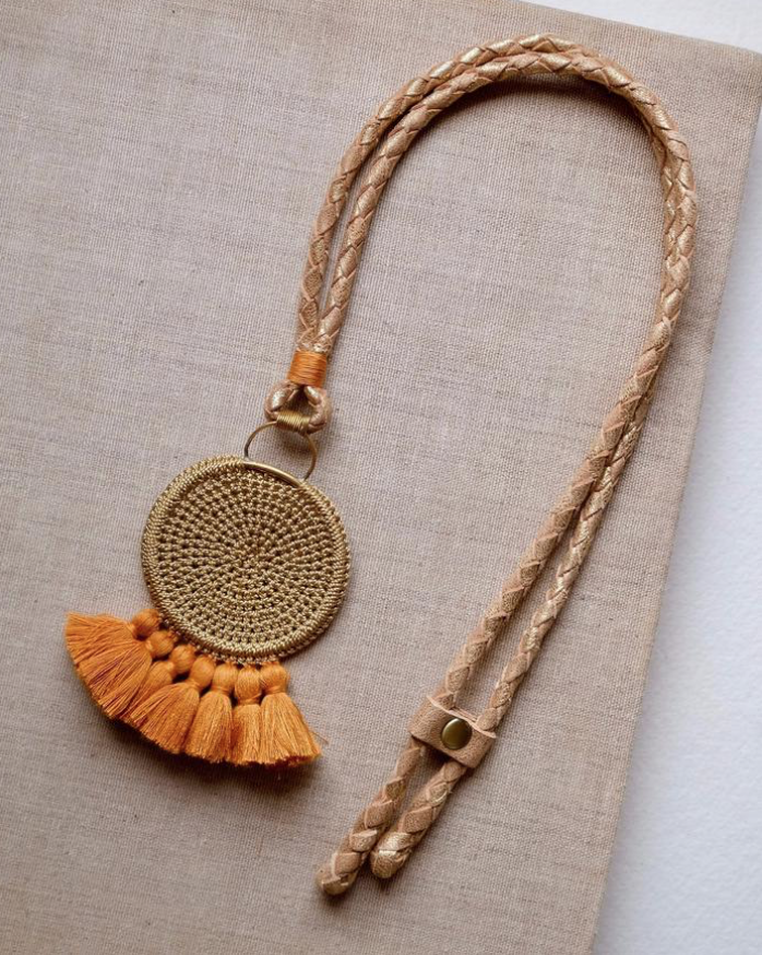 Crochet Disc Tassel Necklace - Cumin & Turmeric