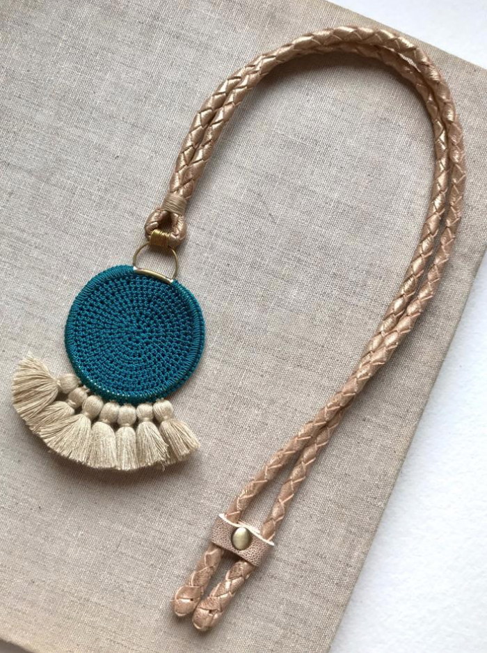Crochet Disc Tassel Necklace - Turquoise and Straw