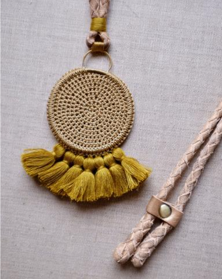 Crochet Disc Tassel Necklace - Cumin & Cumin
