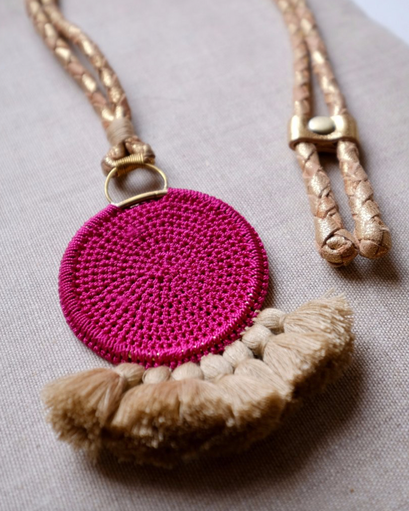 Crochet Disc Tassel Necklace - Fuchsia and Straw