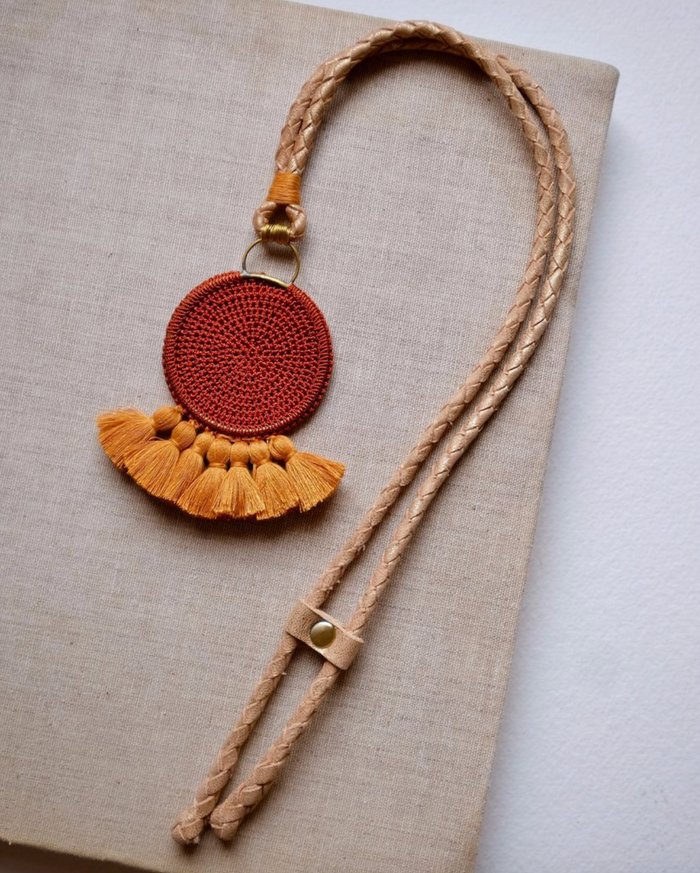 Crochet Disc Tassel Necklace - Rust and Turmeric