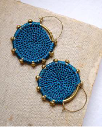 Hebba Crochet Disc Earrings-Turquoise