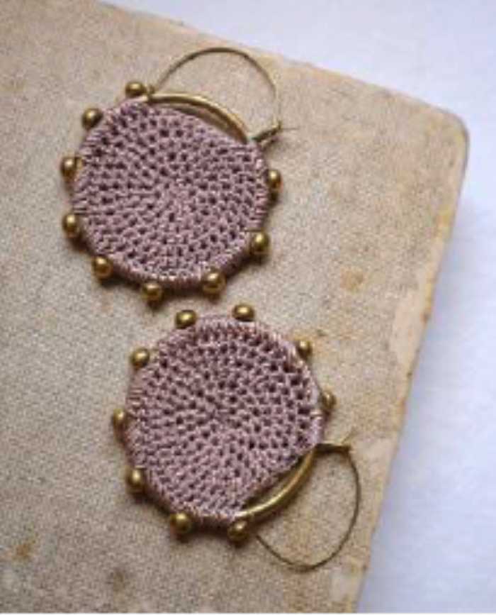 Hebba Crochet Disc  Earrings-Mink