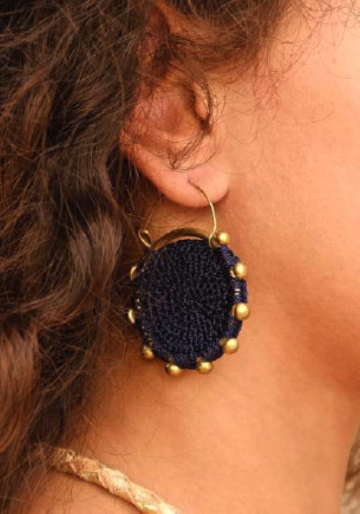 Hebba Crochet Disc  Earrings-Cumin