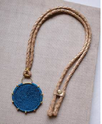 Hebba Crochet Disc  Necklace-Turquoise