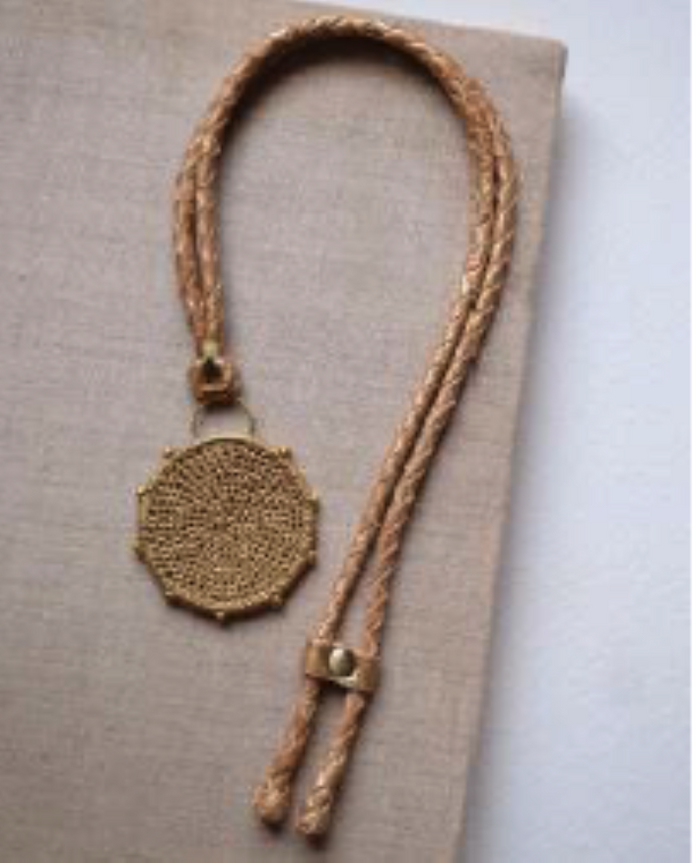 Hebba Crochet Disc  Necklace-Cumin