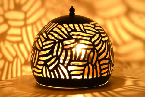 Casablanca Black Basket Table Lamp-Small