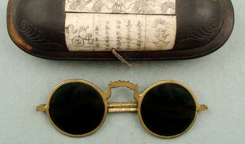 Example of sunglasses made from flat panes of smoky quartz from China as early as the 12th century.