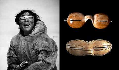 Inuit person wearing glasses with narrow slits and an example of prehistoric flattened walrus ivory glasses.