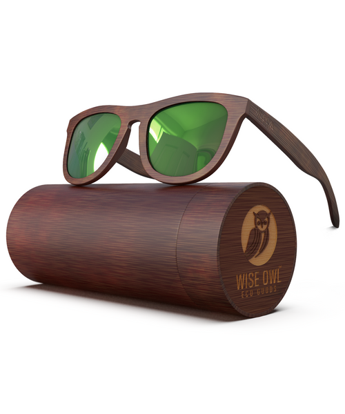 Power Green - Dark Frame / Green Lens (Bamboo Sunglasses)