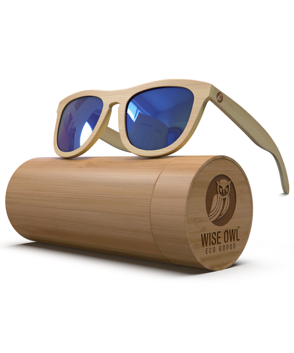 Old Blue - Natural Frame / Blue Lens (Bamboo Sunglasses)