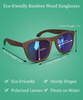 Blue Steel - Dark Frame / Blue Lens (Bamboo Sunglasses)