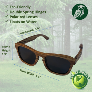 Zebra Wood POLARIZED Unisex Bamboo Sunglasses | Eco-Friendly & Strong