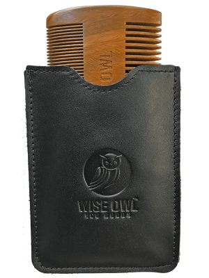 Beard Comb and GENUINE Leather Case | Sandalwood Men's Grooming Tool, Pocket Size, Dual-Action