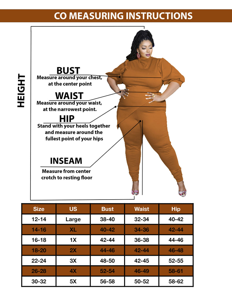 Christian Omeshun Plus Sizes Sizing Chart