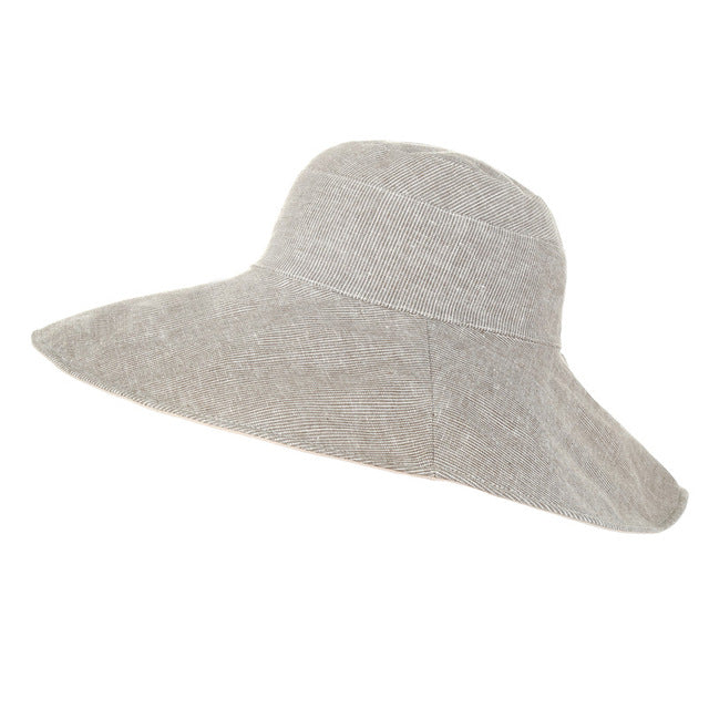 5fe9eaac2 Xthree reversible summer hat for women large brim cotton linen Beach cap  sun hat female England