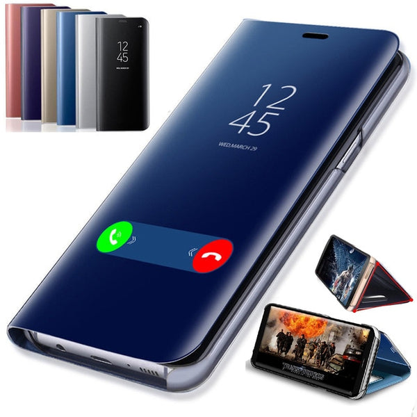timeless design 97fb4 1a3c2 Clear View Phone Case For Samsung Galaxy A3 A5 A6 A7 A8 A9 Plus Star 2017  2018 For S6 S7 Edge S8 S9 Plus Smart Mirror Flip Cover