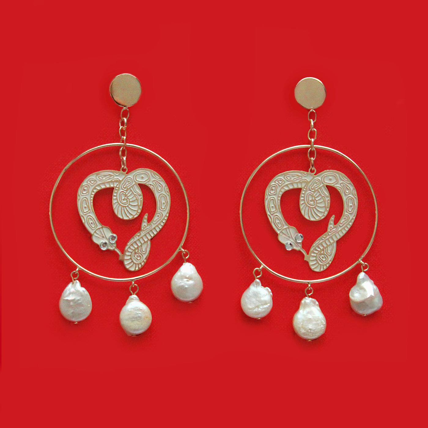 Snake Heart Earrings