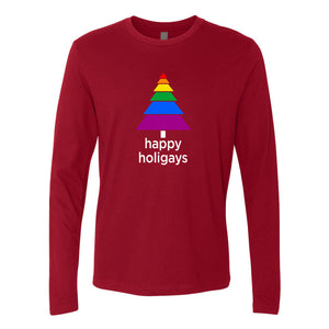 Happy Holigays Cardinal Long-Sleeved Tee Shirt