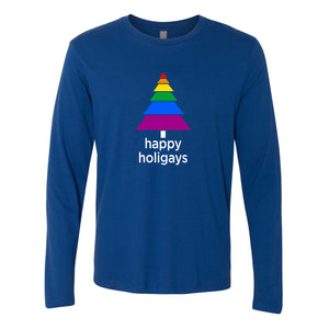 Happy Holigays Royal Blue Long-Sleeved Tee Shirt<p>