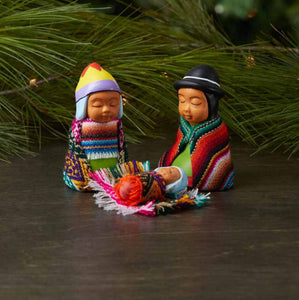 Three-Piece Highlands Happy Family Nativity Set from Peru<p><p>