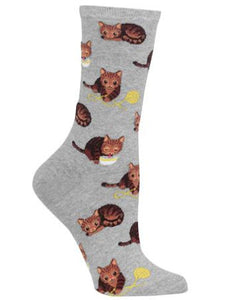 Women's Cat and Yarn Crew Socks/Grey