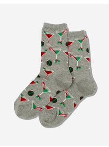 Women's Christmas Cocktails Crew Socks - Gray Heather